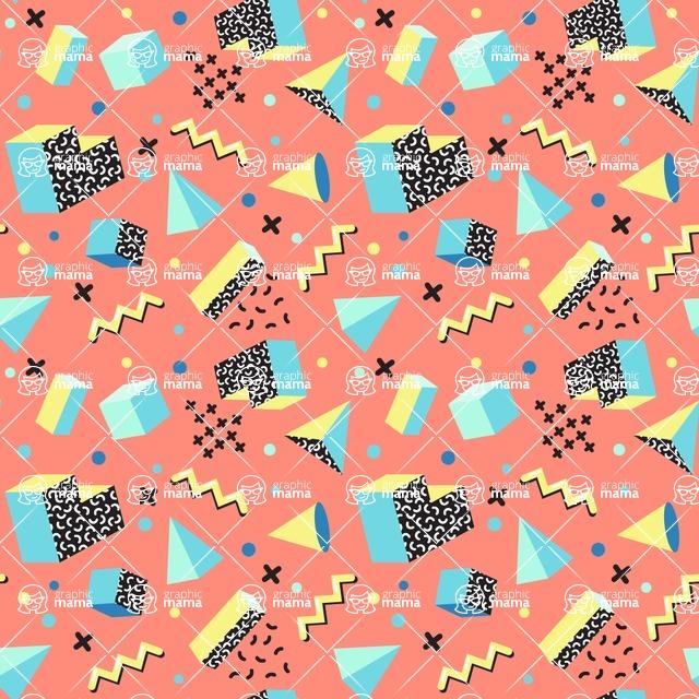Seamless Pattern Designs Mega Bundle - Memphis Pattern 1