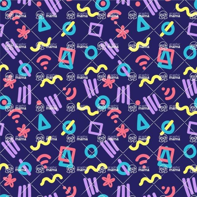 Seamless Pattern Designs Mega Bundle - Memphis Pattern 17
