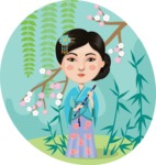 Asian girl with spring landscape