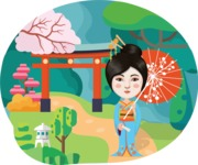 Chinese girl with umbrella and landscape