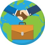 Business handshake and the planet