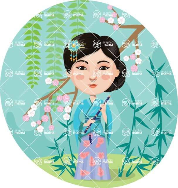 Nationalities Vectors - Mega Bundle - Asian girl with spring landscape
