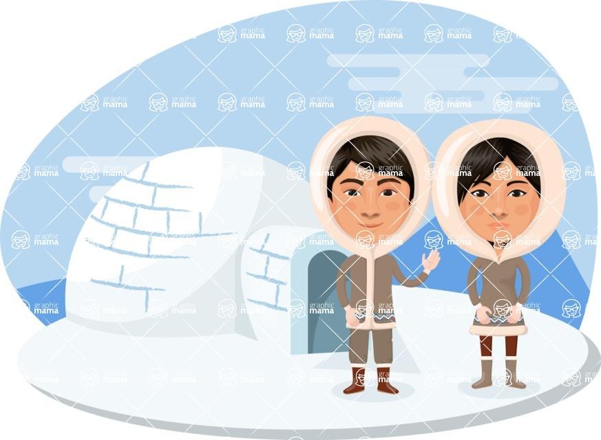 Nationalities Vectors - Mega Bundle - Eskimo couple with igloo