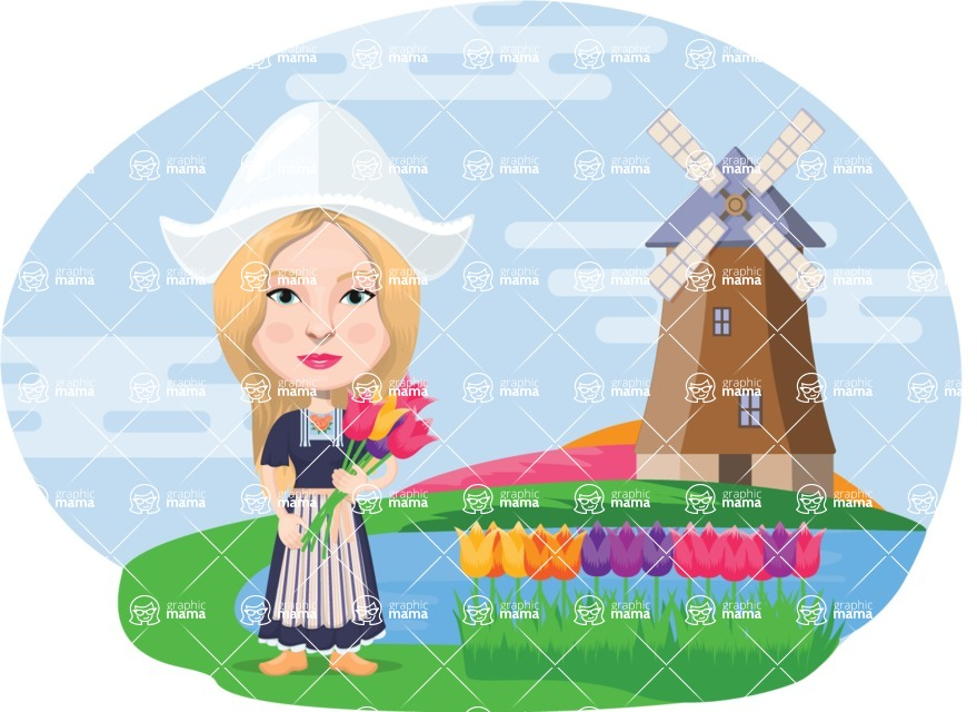 Nationalities Vectors - Mega Bundle - Dutch girl with tulips and windmill
