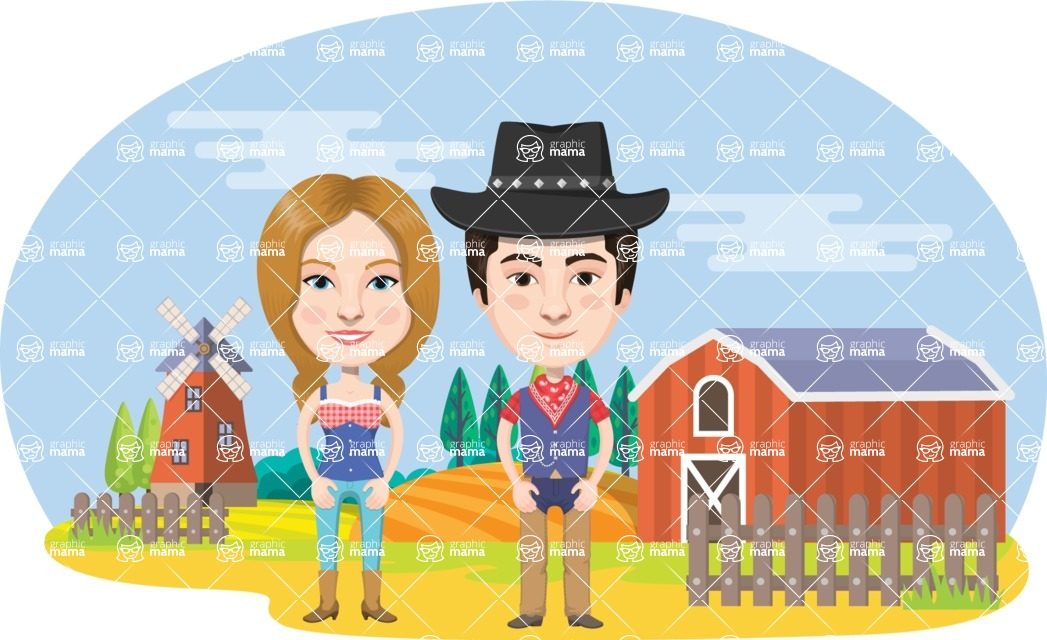 Nationalities Vectors - Mega Bundle - American farmer couple