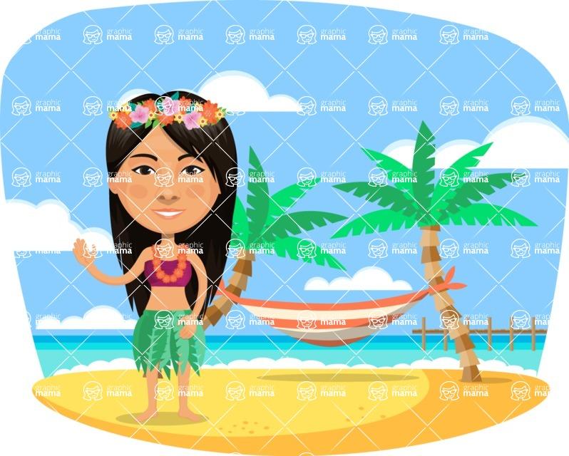 Nationalities Vectors - Mega Bundle - Greeting Tahiti girl