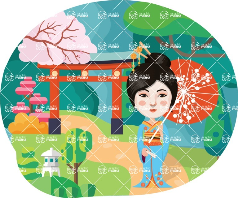 Nationalities Vectors - Mega Bundle - Chinese girl with umbrella and landscape