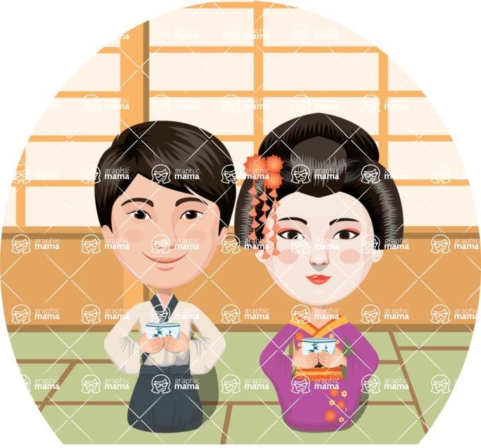 Nationalities Vectors - Mega Bundle - Asian couple drinking tea