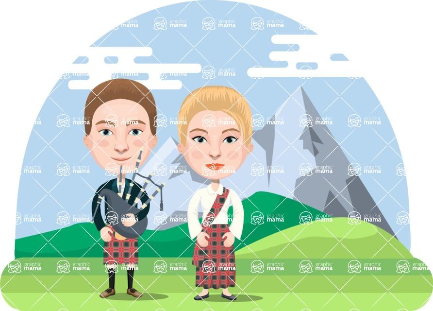 Nationalities Vectors - Mega Bundle - Scottish couple in traditional clothing
