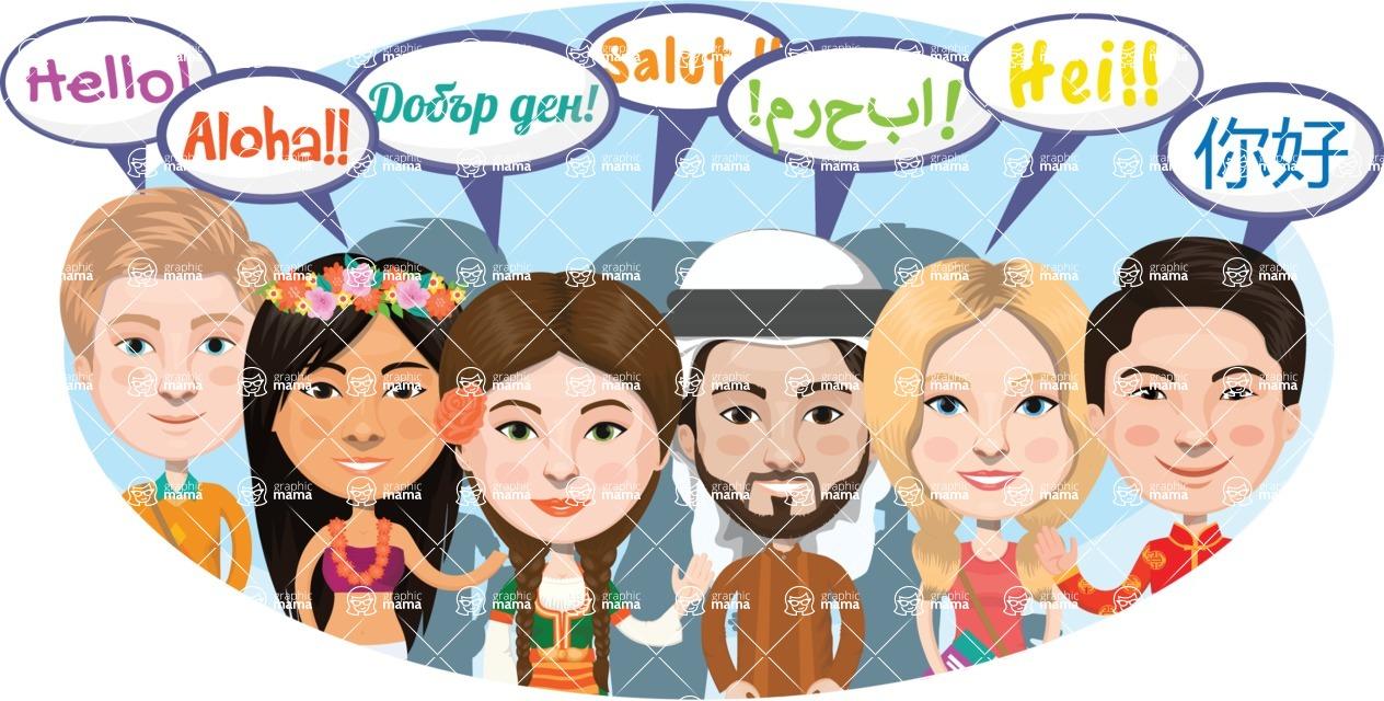 Nationalities Vectors - Mega Bundle - Hello in different languages