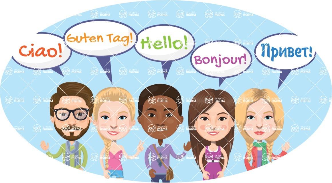 Nationalities Vectors - Mega Bundle - Hello in different languages 2