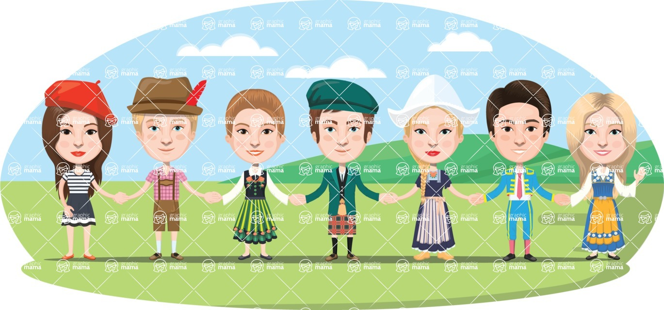 Nationalities Vectors - Mega Bundle - People in traditional clothes holding hands
