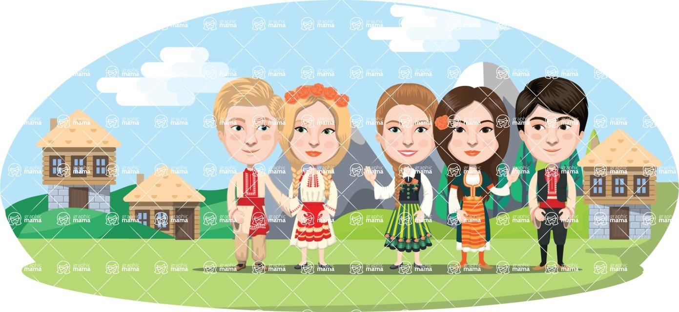 Nationalities Vectors - Mega Bundle - Bulgarians in traditional costume