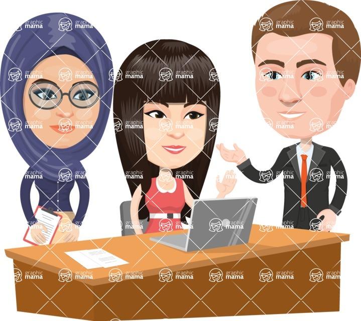 Nationalities Vectors - Mega Bundle - People working at a desk