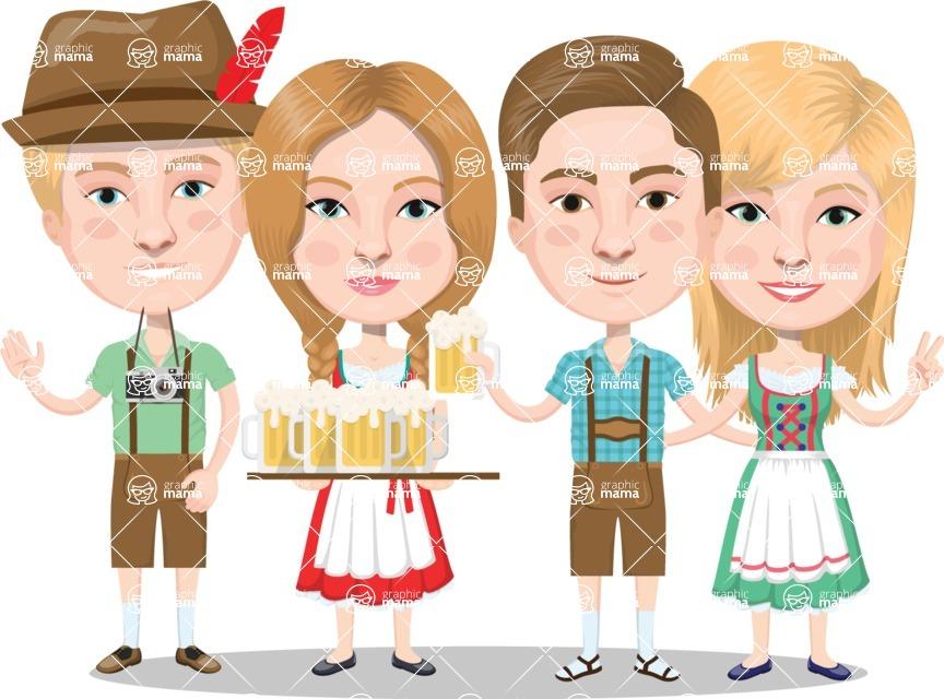 Nationalities Vectors - Mega Bundle - German people at beer fest