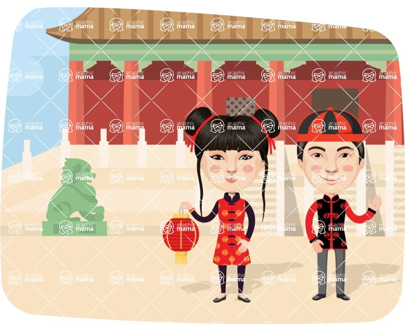 Nationalities Vectors - Mega Bundle - Chinese couple in the city
