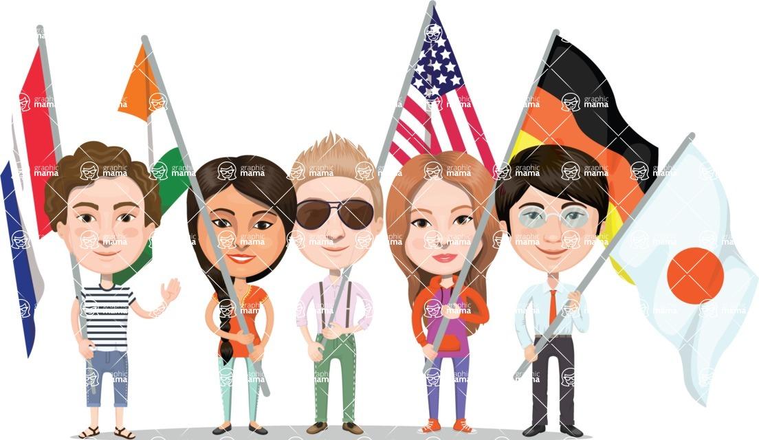 Nationalities Vectors - Mega Bundle - People holding national flags 2