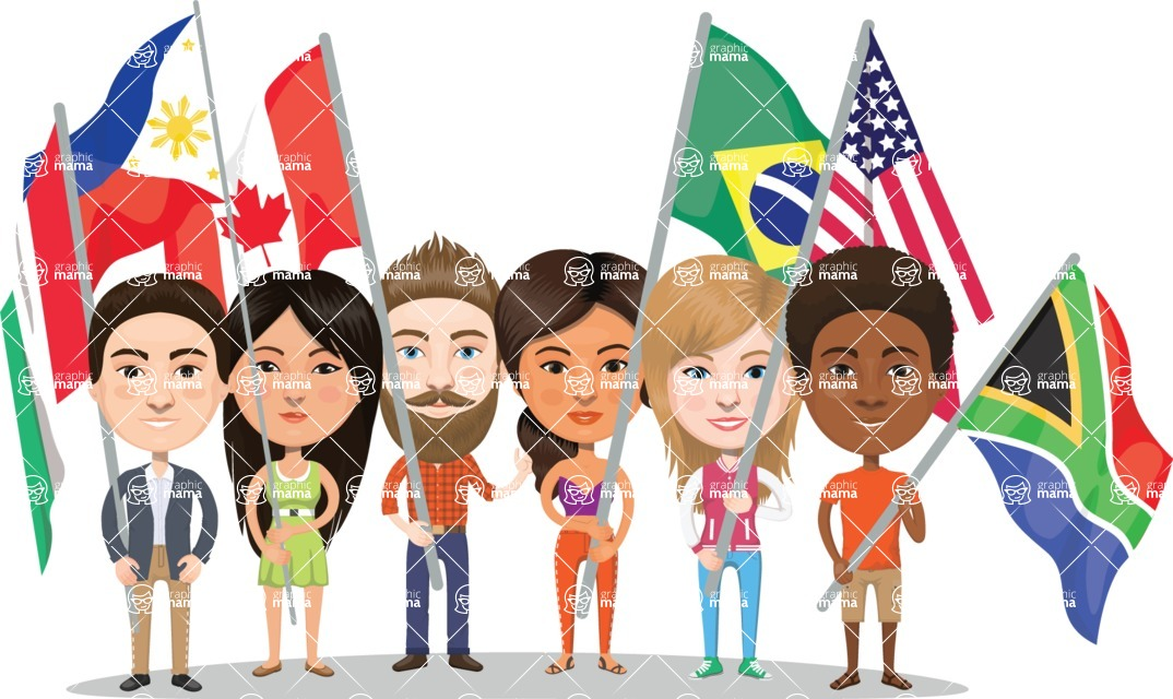 Nationalities Vectors - Mega Bundle - People with national flags