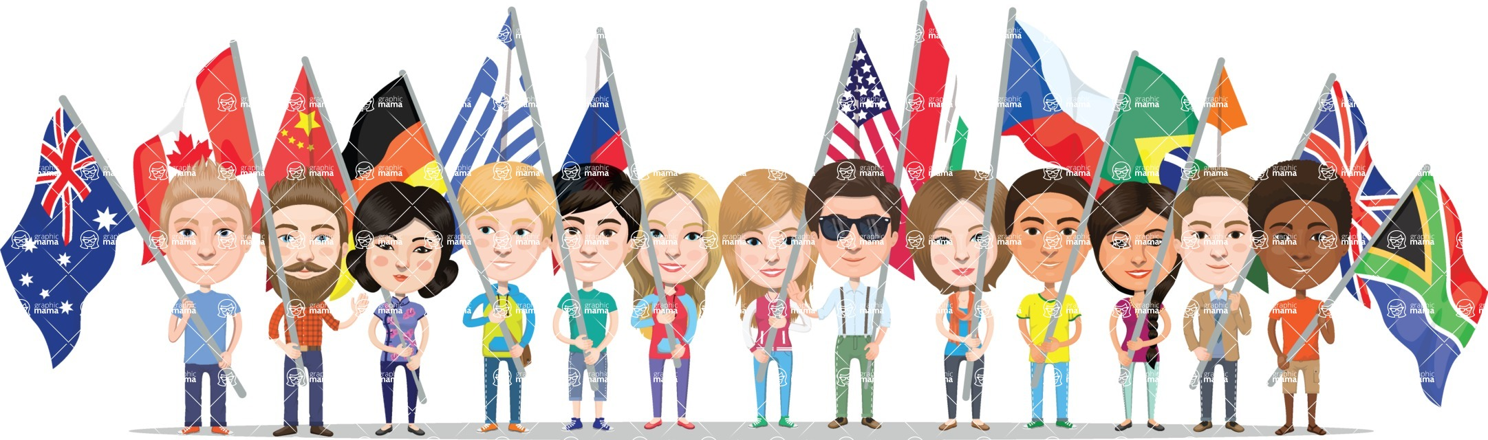 Nationalities Vectors - Mega Bundle - National flags and people