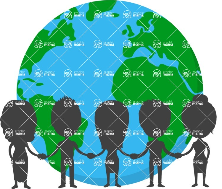Nationalities Vectors - Mega Bundle - The Earth and people silhouettes