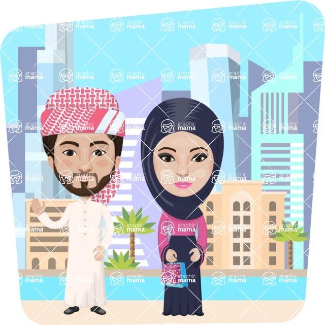 Nationalities Vectors - Mega Bundle - Arabian couple