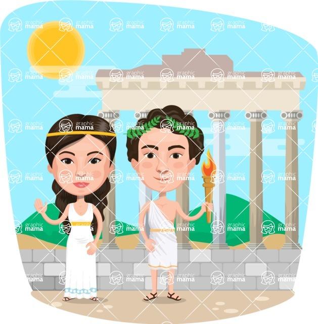 Nationalities Vectors - Mega Bundle - Greek couple in Athens