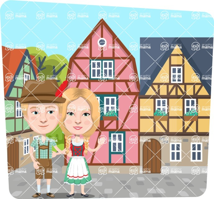 Nationalities Vectors - Mega Bundle - German couple in little town