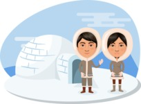 Nationalities Vectors - Mega Bundle - Eskimo couple with igloo