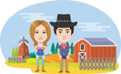 Nationalities Vectors - Mega Bundle - American farmer couple