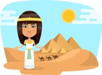 Nationalities Vectors - Mega Bundle - Egyptian woman with pyramids