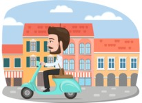 Nationalities Vectors - Mega Bundle - Italian man with scooter