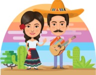 Nationalities Vectors - Mega Bundle - Mexican couple in traditional clothes