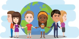 Nationalities Vectors - Mega Bundle - People holding hands and the planet