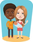 Nationalities Vectors - Mega Bundle - Young couple with baby