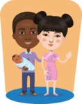 Nationalities Vectors - Mega Bundle - New parents with baby