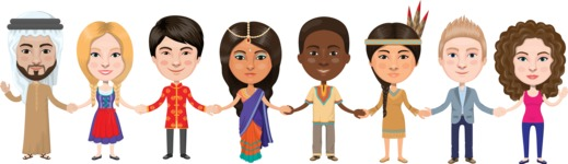 Nationalities Vectors - Mega Bundle - People from around the world holding hands