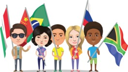Nationalities Vectors - Mega Bundle - People holding national flags 1