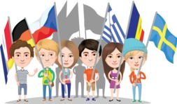 Nationalities Vectors - Mega Bundle - Marching people with national flags