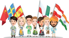 Nationalities Vectors - Mega Bundle - People holding national flags 2