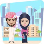 Nationalities Vectors - Mega Bundle - Arabian couple