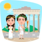 Nationalities Vectors - Mega Bundle - Greek couple in Athens