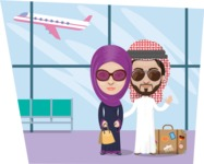 Nationalities Vectors - Mega Bundle - Arabian couple at the airport