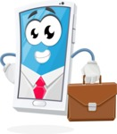 Mobile Phone Cartoon Vector Character - As a Businessman with Briefcase