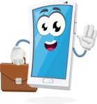 Mobile Phone Cartoon Vector Character - Being Bussy with Briefcases