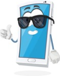 Mobile Phone Cartoon Vector Character - Being Cool with Sunglasses