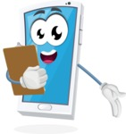 Mobile Phone Cartoon Vector Character - Being Happy and Showing a Notepad
