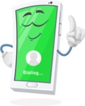 Mobile Phone Cartoon Vector Character - Dialing a Contact