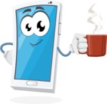 Mobile Phone Cartoon Vector Character - Drinking Coffee