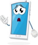 Mobile Phone Cartoon Vector Character - Feeling Bored and Yawning