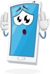 Mobile Phone Cartoon Vector Character - Feeling Confused